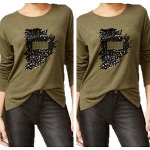 NEW Oh! Mg Go Your Own Way Sequined Sweater Top